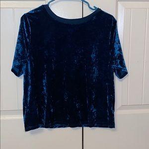 Ava & Viv Royal Blue Velvet Short Sleeve Blouse!!